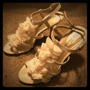 "2"" Cream Satin Heel w/ Soft Ruffle and Ankle Strap"